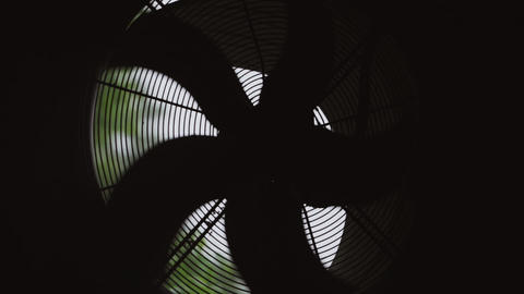 View of rotating conditioner. Blades. Silhouette. Ventilator Footage