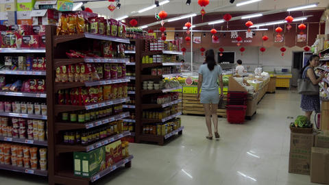 Supermarket In Chinese City With Food And Customers China Asia 영상물
