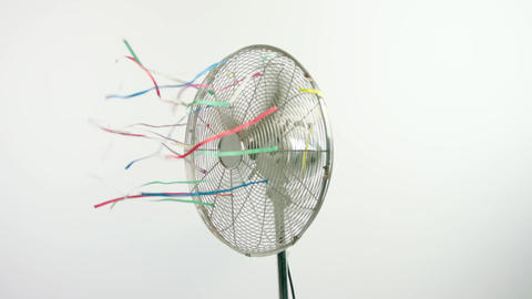 Moving spinning fan on white background Live Action