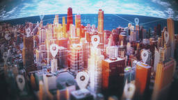 Active network and database connections on skyscrapers with animated pin signs Animation
