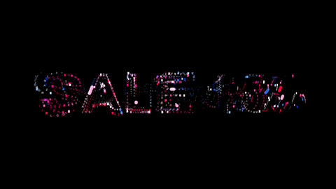 Letters are collected in sale tag SALE 15%, then scattered into strips. Bright Animation