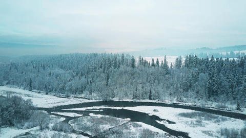 Aerial view of a snowy forest and a small river in winter. The Tatra mountains Footage