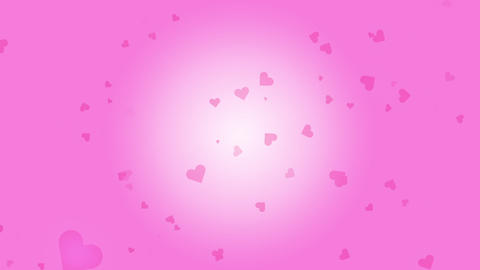 Many pink hearts fall in a pink background Animation