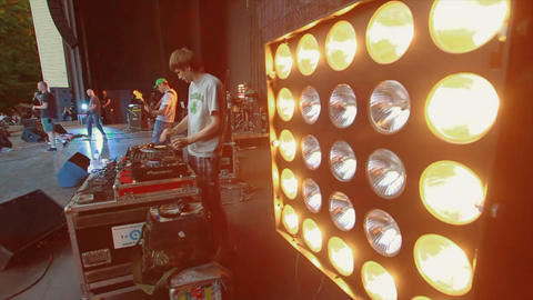 MOSCOW, RUSSIA - AUGUST 23, 2011: DJ spinning at summer live concert. Music band Footage