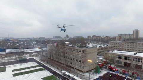 Quadrocopter shoot rescue operation of Ministry Emergency Situations. Helicopter Live Action