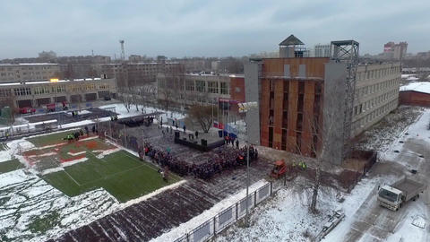 Quadrocopter shoot teaching, practice Ministry of Emergency Situations. Snow Live Action