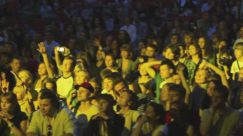 MOSCOW, RUSSIA - AUGUST 23, 2011: People cheering on summer live Footage