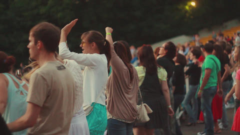 MOSCOW, RUSSIA - AUGUST 23, 2011: People dancing on tribune at s Footage