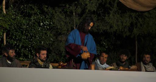 Last Supper Eucharist sharing wine Footage