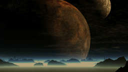 Two huge planet on a ghostly landscape Animation