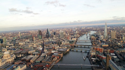 4K Helicopter Flight Of London Skyline Famous Skyscrapers And St Pauls Cathedral stock footage