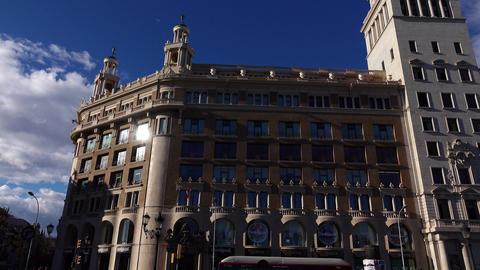 Public Library building, Catalonia Square, slide shot, sun reflex flash at glass Footage