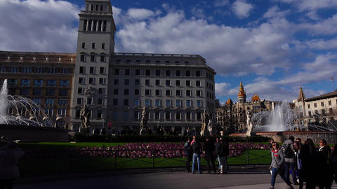 Some people, tourists at Catalonia Square, sunny evening, panoramic shot Live Action
