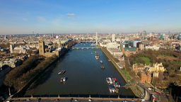 4K Aerial View Of Big Ben Parliament London Eye And River Thames In London stock footage