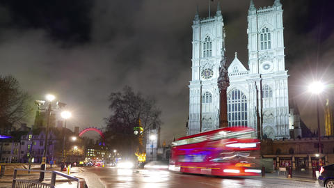 Westminster Abbey London - night time lapse shot Live Action
