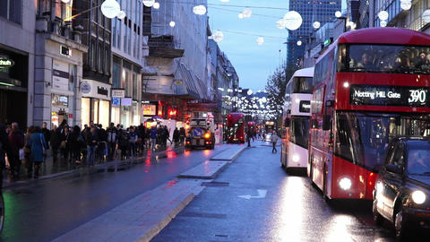 London Oxford street in the evening - LONDON, ENGLAND NOVEMBER 20, 2014 Live Action