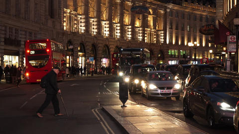 Regent Street London by night - LONDON, ENGLAND NOVEMBER 20, 2014 Live Action
