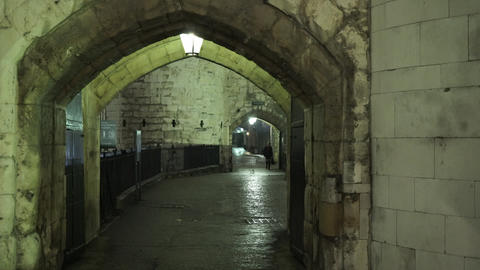 Entrance to the Tower of London by night - LONDON, ENGLAND NOVEMBER 20, 2014 Live Action