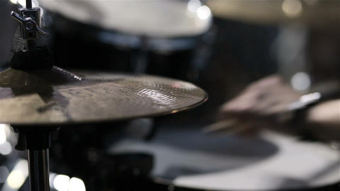 Drummer playing on drum set. close up. Drummer on stage Footage