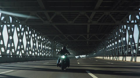 Motorcycle On The City Bridge Footage