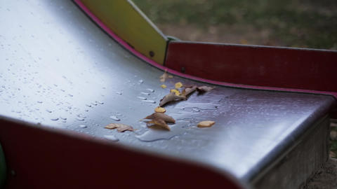Leaf of trees on wet children slide in park. Nature. Nobody. Leaf. Playground Footage