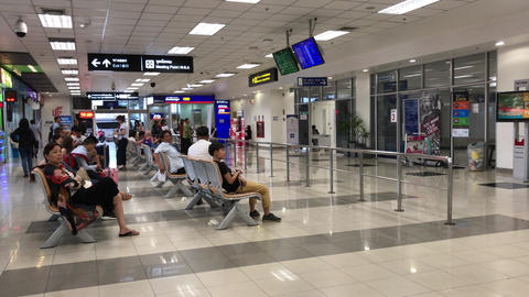 Passenger inside International Terminal of Chiang mai International Airport Live Action