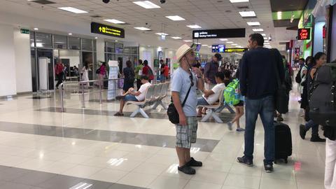 Passenger inside International Terminal of Chiang mai International Airport Footage