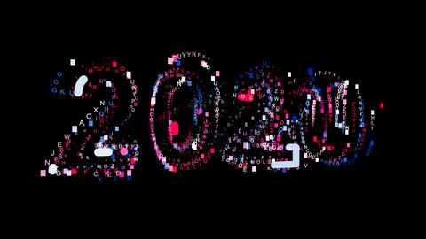 Letters are collected in year 2020, then scattered into strips. Bright colors Animation