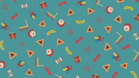 Purim holiday flat design animation background with traditional symbols. loop Animación