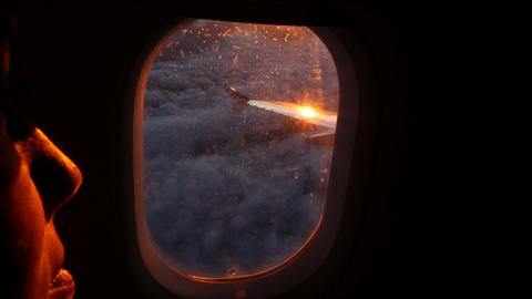 seen from the window of an airliner early in the morning Footage