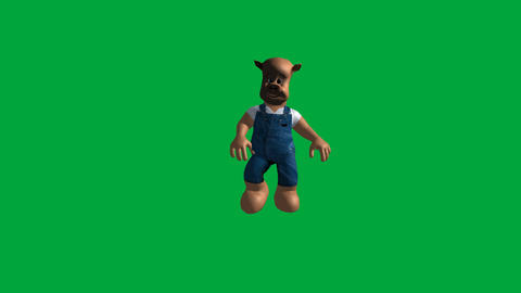Pig Character, Running (Front): Loop + Matte Animation