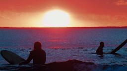 Silhouette of Surfers on The Ocean Waiting For A Wave At Sunset Footage