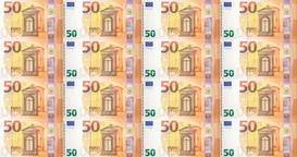 Banknotes of fifty euro passing on screen, cash money, seamless looping Animation