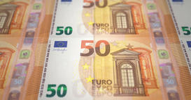 Banknotes fifty euros passing on screen Animation