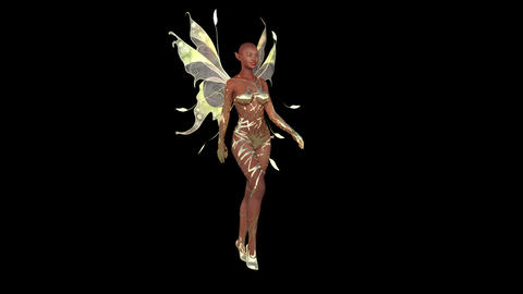 Fashion Beautiful Girl with Fairy Wings is Walking CG動画素材