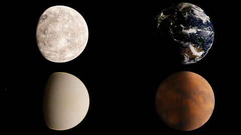 Mercury, Venus, Earth and Mars timelapse Animation
