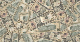 Mountain of banknotes of ten dollars americans, cash money Animation