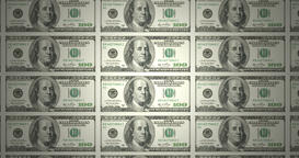 Serie of bills of american one hundred dollars rolling, cash money Animation