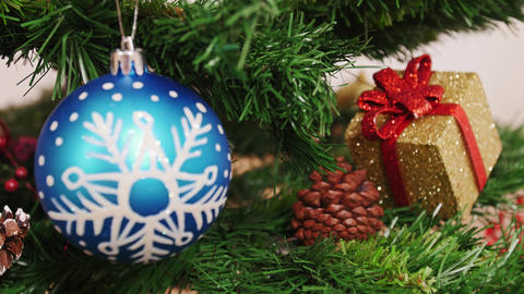 Decoration of Christmas tree blue ball. Focus Footage