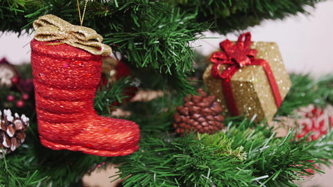 Decoration of Christmas tree red boot Footage