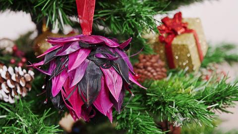 Decoration of Christmas tree purple flower toy Footage