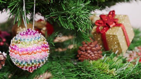 Decoration of Christmas tree colorful ball. Pan Footage