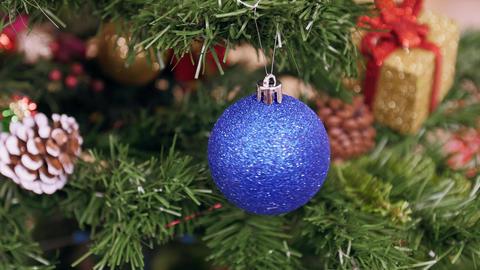 Twisted blue ball on Christmas tree Footage