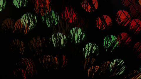 Hairy lights bokeh on black background. Shape Footage