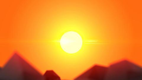 Polygon Rocks on a Hot Desert Background ビデオ