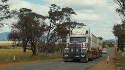Road Train On An Australian Country Road Footage