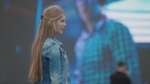 SAINT PETERSBURG, RUSSIA - JUNE 24, 2017: Young beautiful girl having fun in Live Action