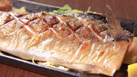 grilled fish of mackerel Footage