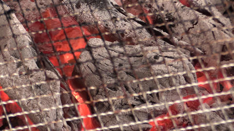 a barbecue net on charcoal Live Action