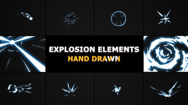 Hand Drawn Explosion Elements And Transitions After Effects Templates